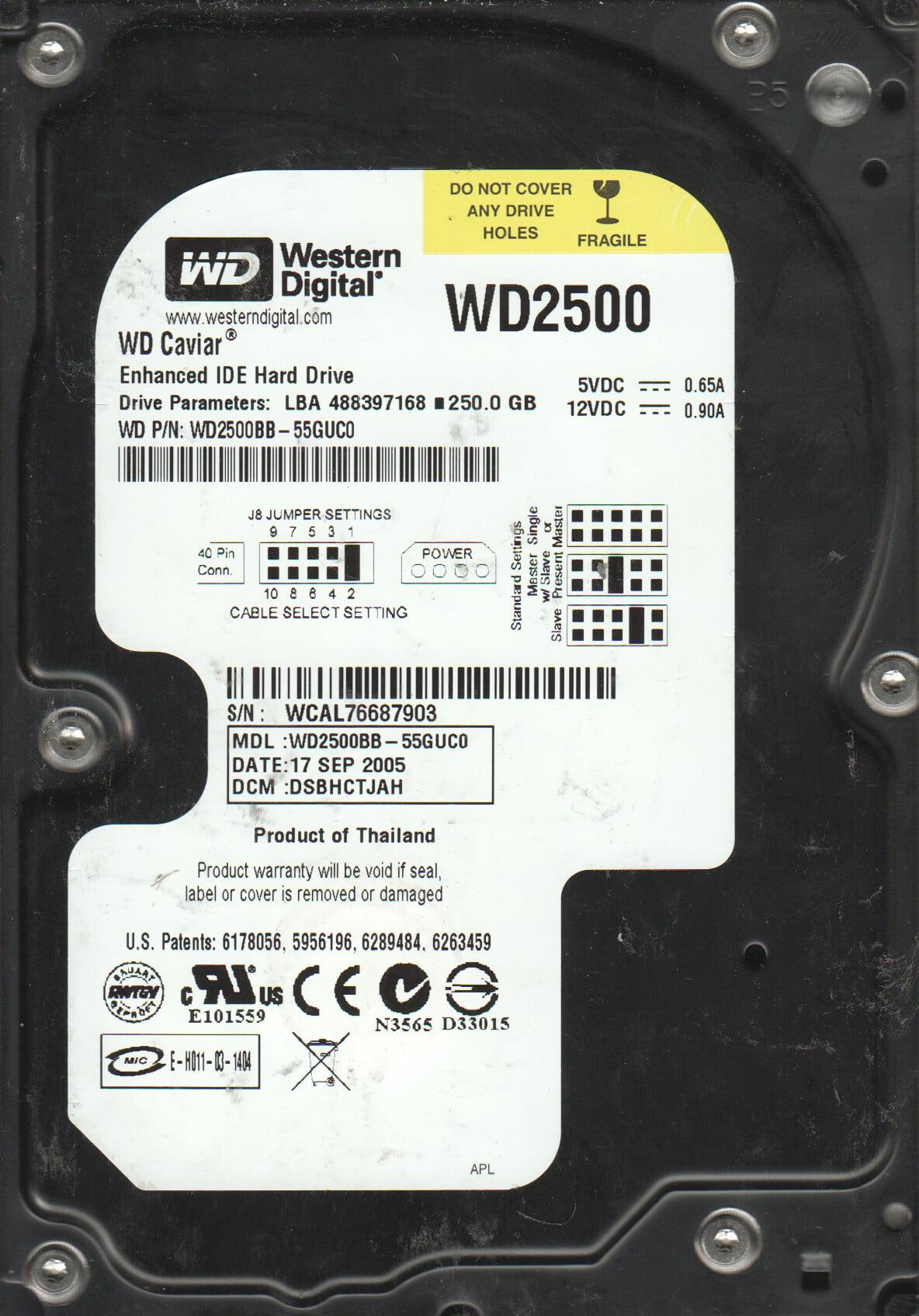 WD2500BB-55GUC0, DCM DABHCTJAH, Western Digital 250GB IDE 3.5 Hard Drive by WD