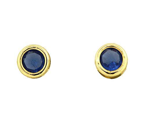 Kids 14K Yellow Gold CZ Birthstone Safety Screwback Earrings, 3 MM (September-Sapphire)