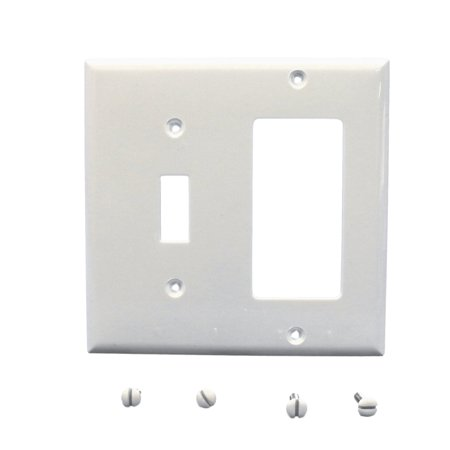 Cooper 5153W White Unbreakable Two Gang One Toggle One Decorator Combination Wall - Combination Wall Plate One Toggle