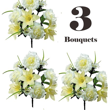 Realistic Faux Flower Bouquets or Centerpiece Arrangements, 3 Unit Pack, Collection of Spring Whites, Silky Blooms of Roses, Lilies, and Hydrangea Spray, Grass, Leaves, Each 16 Tall Inches ()