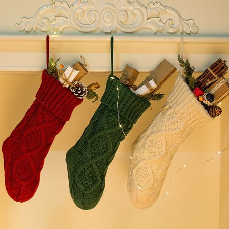 Outgeek 14.57'' Christmas Stocking Creative Knitted Christmas Gift Bag Hanging Stocking Christmas Tree Party Supplies Decorations for Home Retro Christmas Stockings