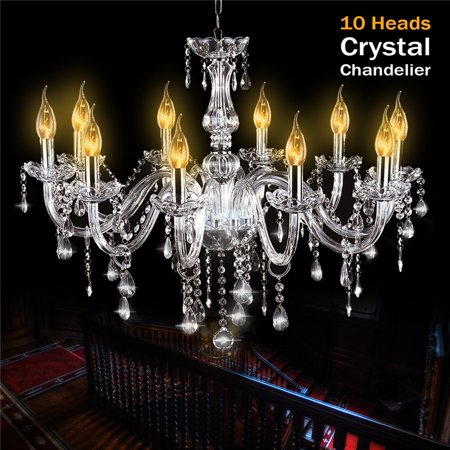 E12 European Style Elegant Crystal Chandelier, 10 Heads Modern Chandeliers Crystal Light Fixture, Pendant Ceiling Light, AC110/220V, For Home Bedroom Hall Restaurant