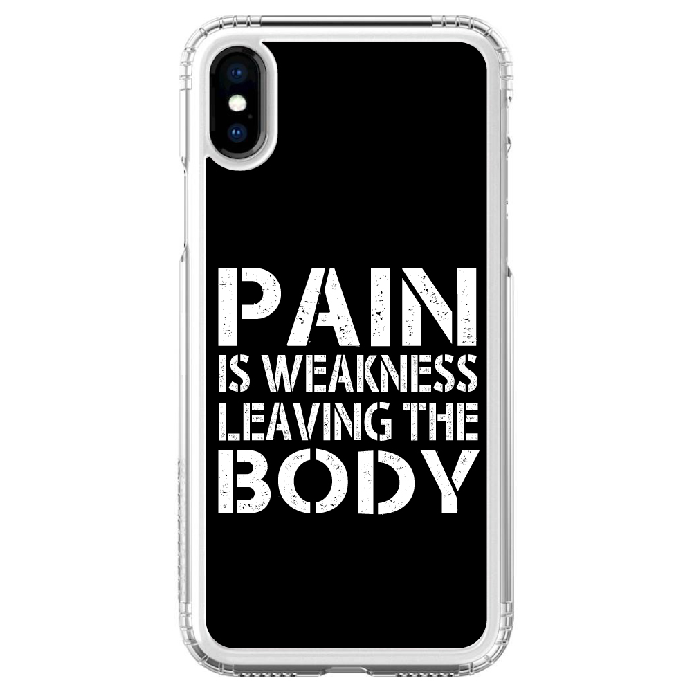 iPhone X SaharaCase ® Clear Shockproof Custom Case By DistinctInk ®- Protective Kit & ZeroDamage Screen Protector - Pain is Weakness Leaving the Body