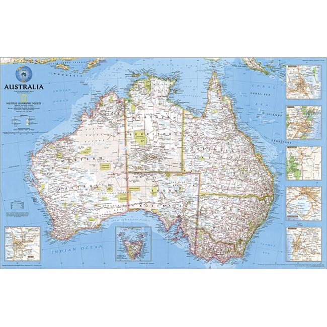 National geographic re00620146 map of australia political laminated gumiabroncs Image collections