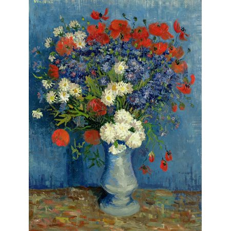 Still Life: Vase with Cornflowers and Poppies, 1887 Post-Impressionist Flower Floral Painting Print Wall Art By Vincent van Gogh ()