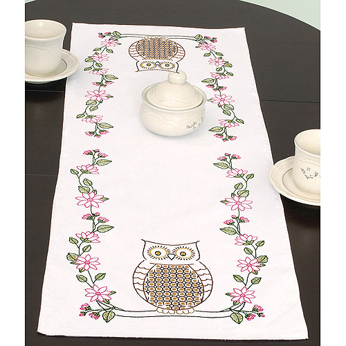 "Jack Dempsey Stamped Table Runner/Scarf 15""X42""-Chicken Scratch Owls"