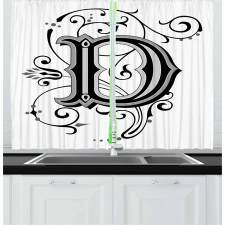 Letter D Curtains 2 Panels Set, Initial Letter from Medieval Scrolls Capital D Symbol Medieval Design Print, Window Drapes for Living Room Bedroom, 55W X 39L Inches, Black Grey White, by Ambesonne - Medieval 2 Letter