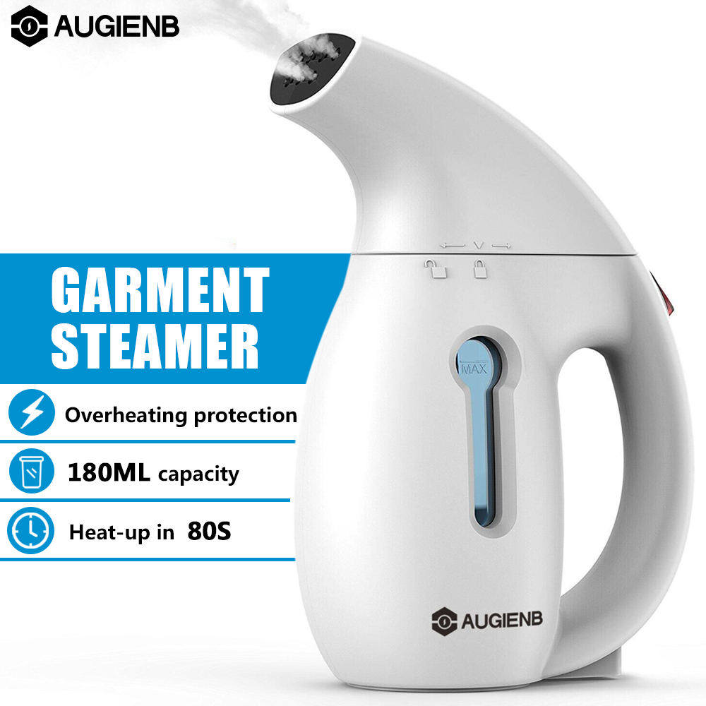 Handheld Garment Clothes Steamer , AUGIENB Portable 60s Fast Wrinkle Remover for Home and Travel Clothes Fabric Steamer Steam Machine 700W 150ML White