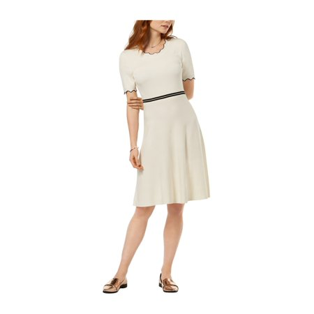 fe149eb78d0 maison Jules Womens Scalloped Fit & Flare Dress cloud M | Walmart Canada