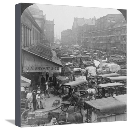Quincy Market and Faneuil Hall 1907 Stretched Canvas Print Wall Art By H.C. (Quincy Market Stores)