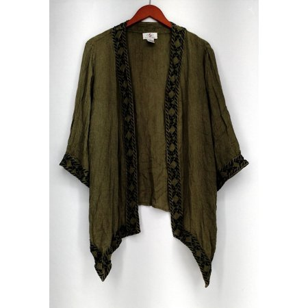 OSO Casuals Sz L Geometric Embroidered Trim Cardigan Sweater Green -