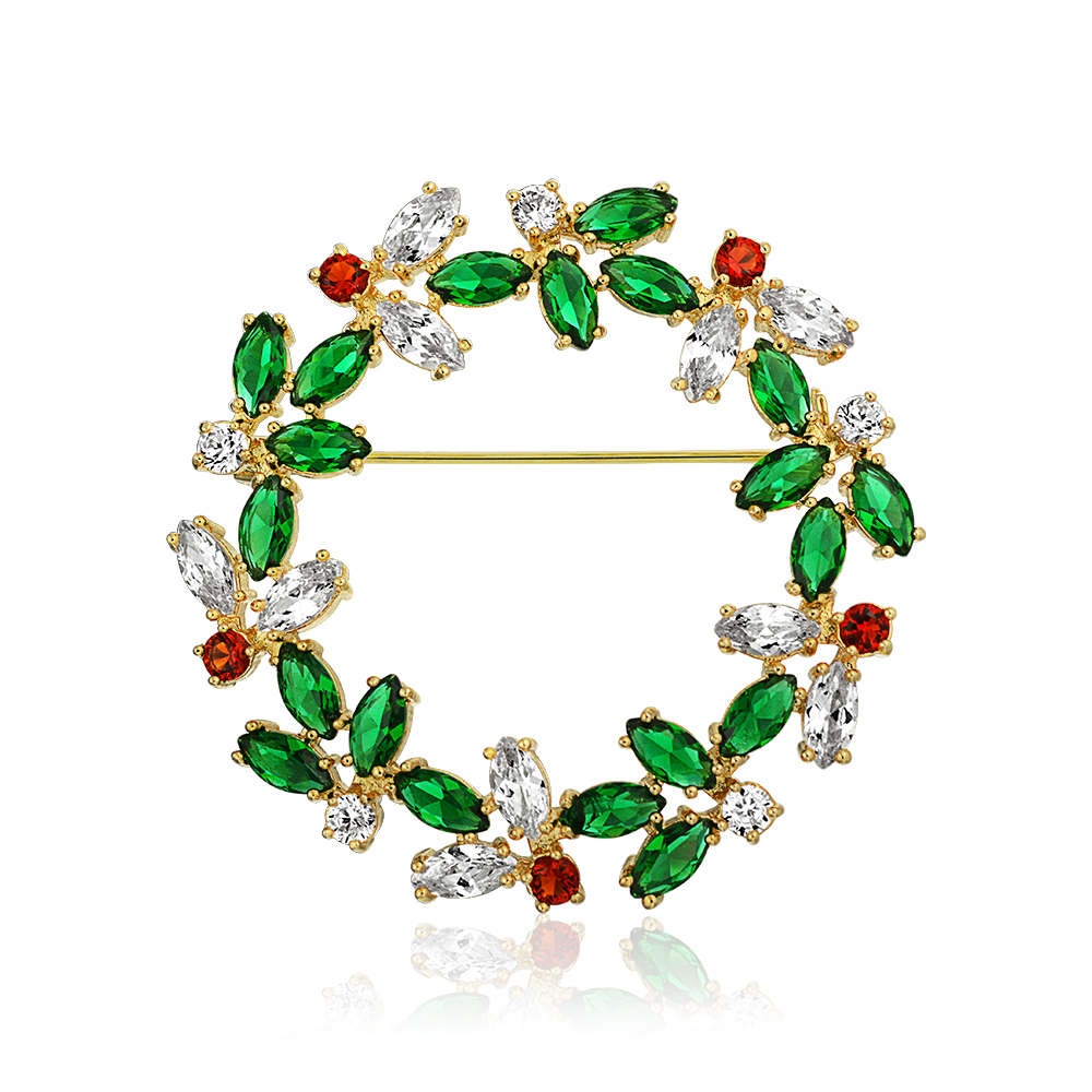 Bling Jewelry Gold Plated Marquise Simulated Green Emerald Simulated Red Garnet Clear Cubic Zirconia Wreath Pin Brooch by Bling Jewelry