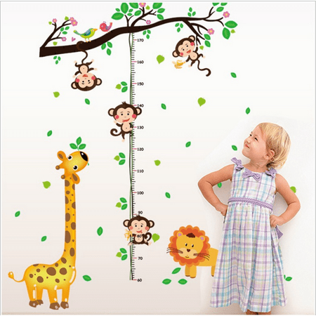 Wall Sticker, JUSTDOLIFE Cute Cartoon Giraffe Monkey Height Removable Growth Chart Decal Quotes for Kids Living Room Bedroom Kindergarten Classroom Decor](Size Chart For Kids)