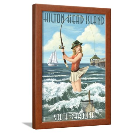 Hilton Head Island South Carolina Pinup Surfer Fishing Framed