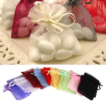 HiCoup 50 Pcs Organza Jewelry Gifts Drawable Box Wedding Gift Candy Mini Pouch Bag (Purple Paper Bags)