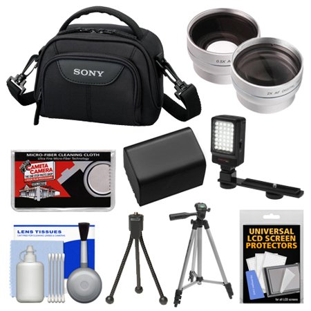 Sony LCS-VA15 Carrying Case (Black) with Wide & Telephoto Lens + LED Light + Battery + Case + Tripod + Accessory Kit for Handycam Camcorders