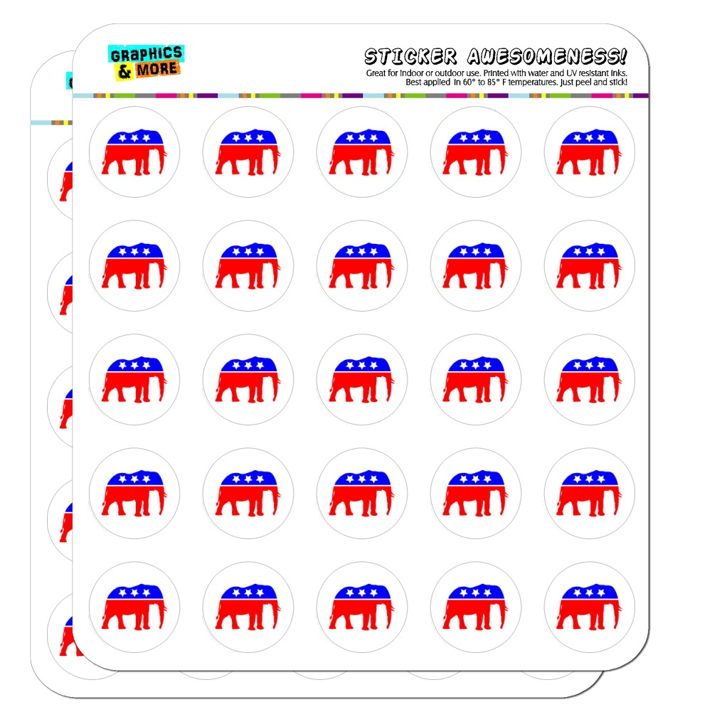 "Republican Elephant GOP Conservative America Political Party 1"" Planner Calendar Scrapbooking Crafting Clear Stickers"