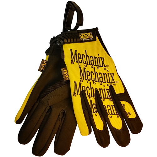 Authentic Mechanix Original Gloves PAIR (Yellow Color) with Handy Gloves Clip - Size Small