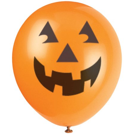 Scary Halloween Balloons (Latex Pumpkin Halloween Balloons, 12 in, Orange,)