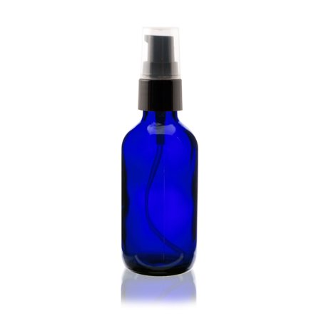 2 oz Cobalt Blue Boston Round Glass Bottle - w/ Treatment Pump - pack of 6 Cobalt Blue Glass Pump