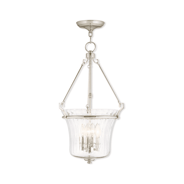 Pendants Porch 4 Light With Hand Crafted Fluted Clear Glass Polished Nickel Size 16 In 240 Watts World Of Crystal Walmart Com Walmart Com