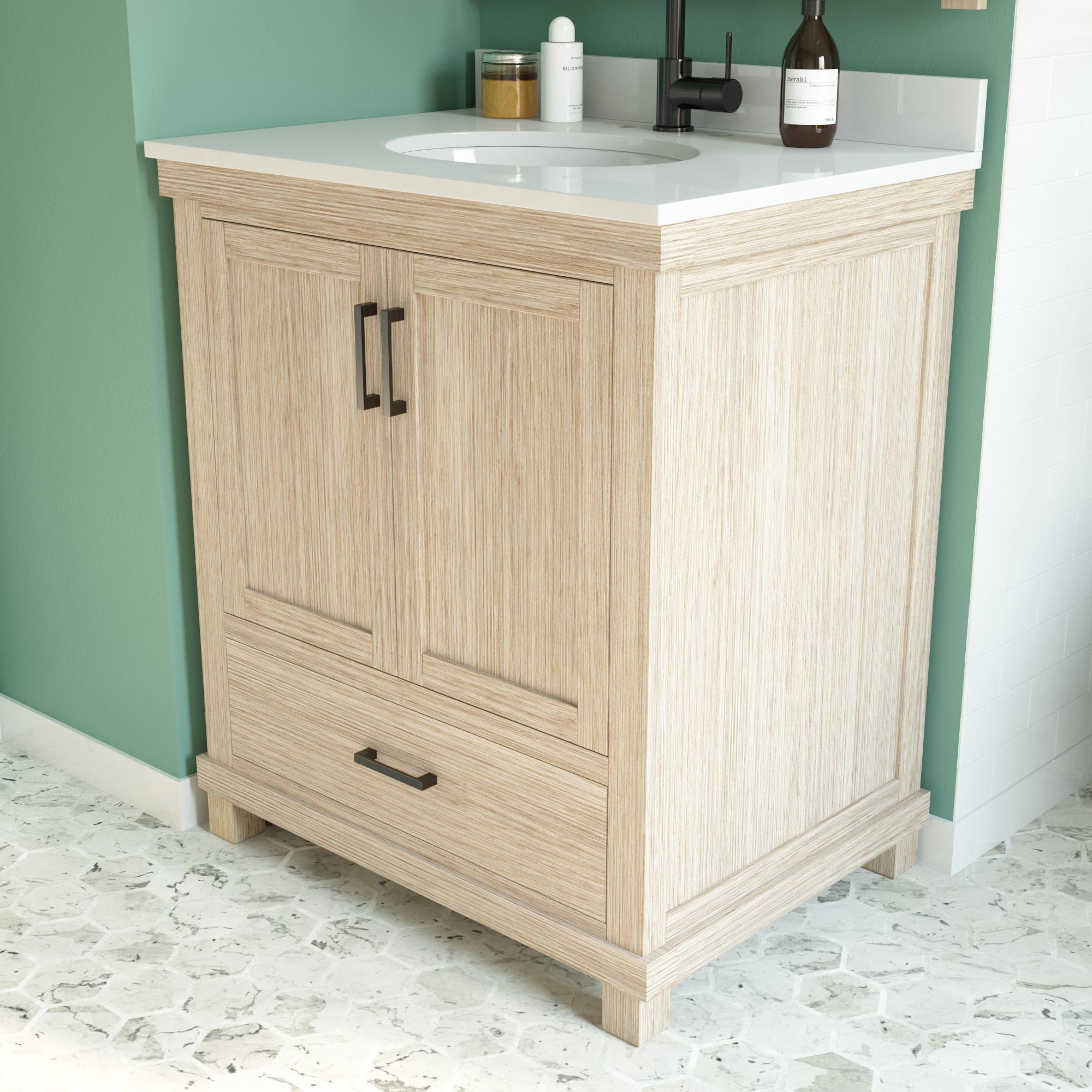Dorel Living Sunnybrooke 30 Inch Bathroom Vanity W Sink Rustic White Walmart Com Walmart Com