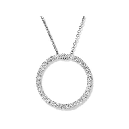 14K White Gold 1/2ct Circle Of Life Diamond (Classic Diamond Circle Pendant)