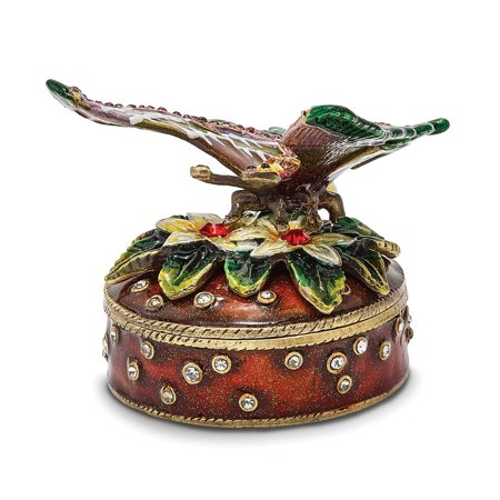 Bejeweled Trinket Box - Bejeweled Pewter Butterfly Flowers Trinket Box