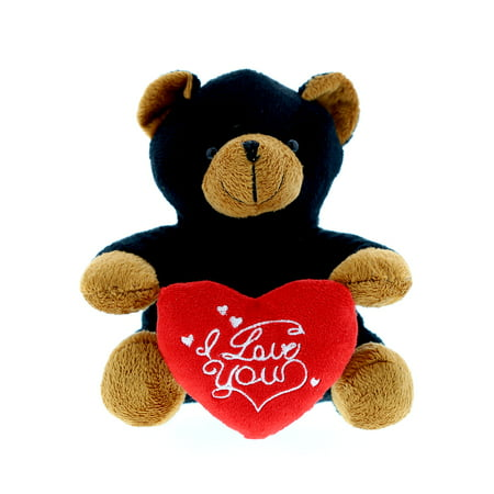 Dollibu Black Bear I Love You Valentines Stuffed Animal - Heart Message - 6 inch - Super Soft Plush - Item