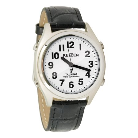 Number Black Leather Band Watch (Talking Atomic Watch - White Face-Black Numbers-Leather)