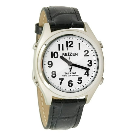 Talking Atomic Watch - White Face-Black Numbers-Leather (Face Leather Band Watch)