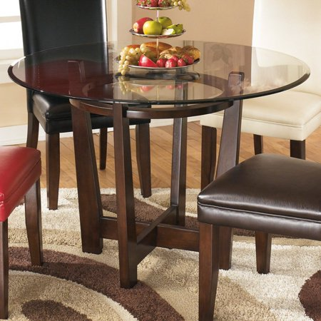 Ashley Charrell Glass Round Dining Table in Medium Brown - Walmart.com