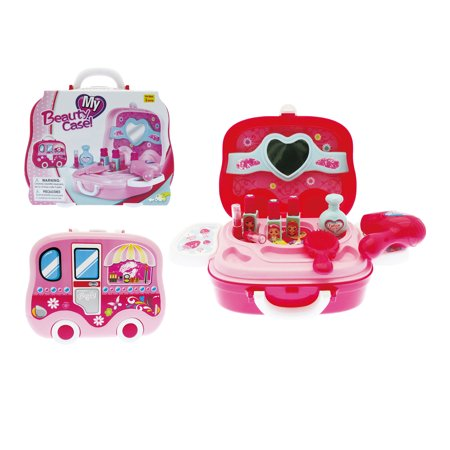 Mozlly Mozlly Fashion Beauty Plastic Vanity Case Makeup Set with Mirror Cosmetics Dressing Accessories Glamorous Pretend Play Toy Ideal Gift Children Toddlers Kids Girls Toys Games Playset 4 Inch - A Girl Dressing Up