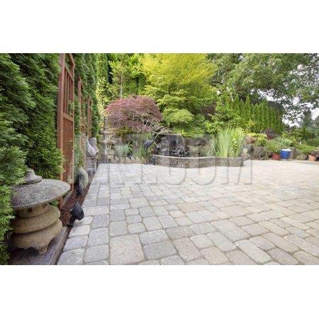 Backyard Asian Inspired Paver Patio Garden Print Wall Art By - Asian Inspired Wall Art