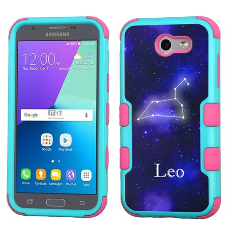 ShockProof Case for Samsung Galaxy J3 Luna Pro 4G LTE / J3 Eclipse / J3 Emerge / J3 Prime, OneToughShield ® 3-Layer Hybrid Protector Phone Case (Teal/Pink) - Zodiac /