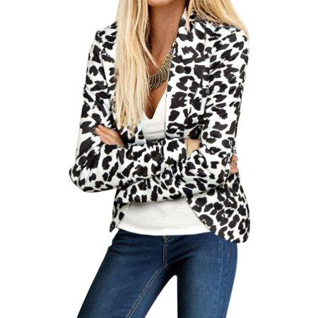 - Women's Leopard Prints Peaked Lapel Blazer White (Size XL / 16)