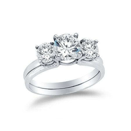 Solid 14k White Gold CZ Cubic Zirconia Round Cut Three 3 Stone Wedding Engagement Ring, and Matching Band 2 Piece Matching Bridal Sets (1.5 ct.) , Size 8.5