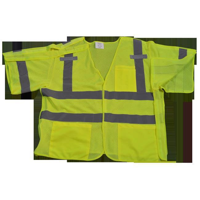 LVM3-5PB-2X-3X Safety Vest Lime Mesh Ansi-Isea Class 3 207-2006, 5-Point Breakaway, 2X & 3X