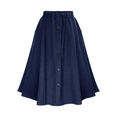 Women High Waist Button Down A-Line Midi Skirt Casual Pleated Denim Skirts Two Button Womens Skirt Suit