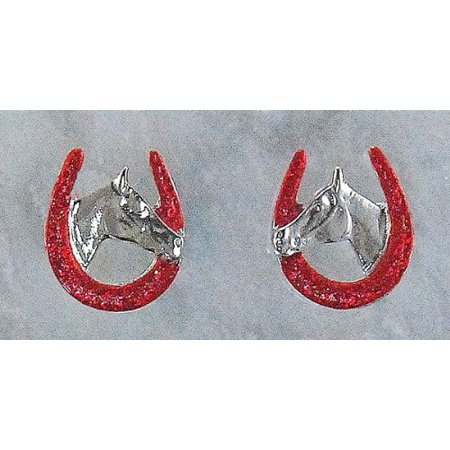 - Horse Head In Horseshoe Glitter Earrings