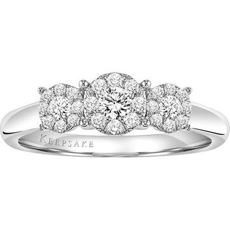 Keepsake Harmony 3 8 Carat T W Certified Diamond Sterling Silver Enement Ring