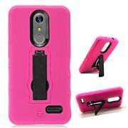 Phone Case for ZTE ZMAX One LTE Z719DL / ZTE Blade Spark 4G AT&T Prepaid Smartphone, ZTE Grand X4 (Cricket Wireless) Case, Double Layer Shockproof Hard Cover Protective Case with Kickstand (Pink)