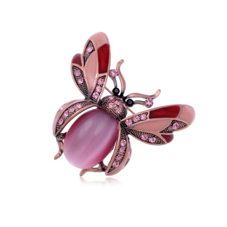 Rose Pink Bead Crystal Rhinestone Ladybug Fly Insect Fashion Costume Pin -