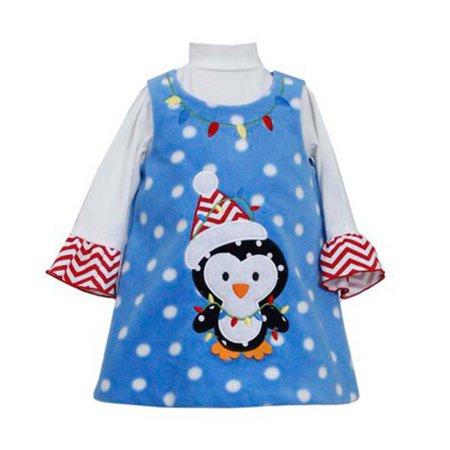 3t Princess Dress (Blue Fleece Penguin Dress - Holiday Dress)