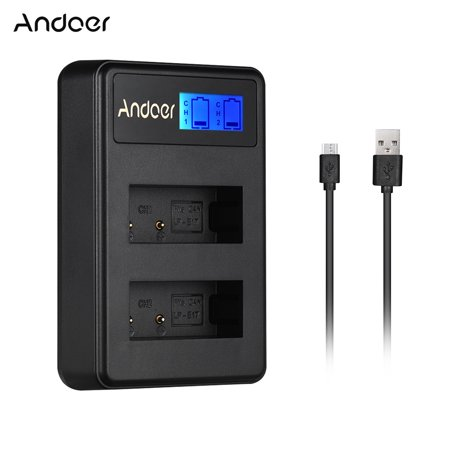 Andoer LCD2-LPE17 Compact Dual Channel LCD Camera Battery Charger USB Input LCD Display for Canon LP-E17 Camera Battery for Canon EOS M3 M5 M6 77D 800D 750D 760D 200D