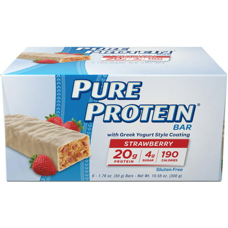 Pure Protein Bar, Strawberry Greek Yogurt, 20g Protein, 6 Ct ()