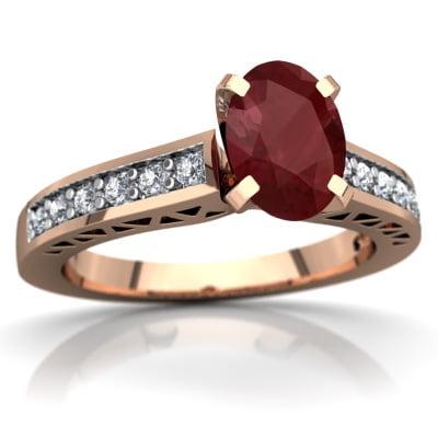 Ruby Art Deco Ring In 14K Rose Gold