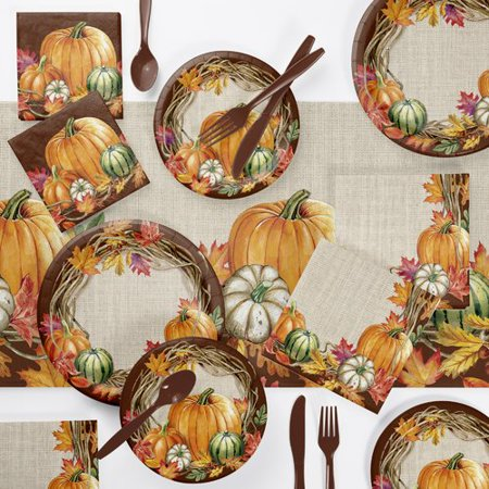 The Holiday Aisle Maja Wreath Thanksgiving 73 Piece Party Supplies Kit for $<!---->