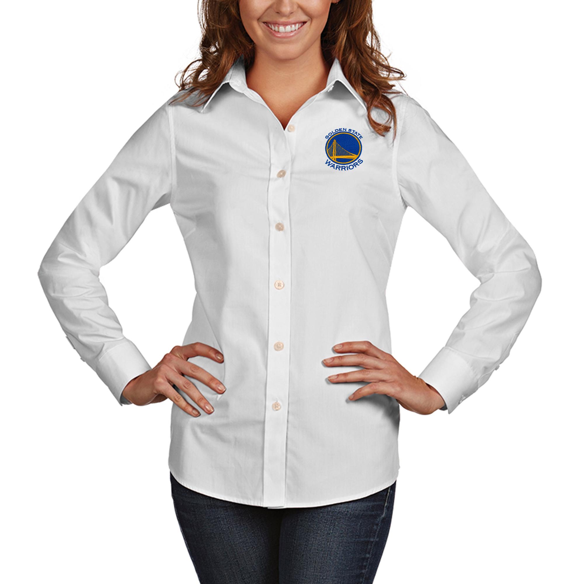 Golden State Warriors Antigua Women's Dynasty Woven Button-Up Long Sleeve Shirt - White