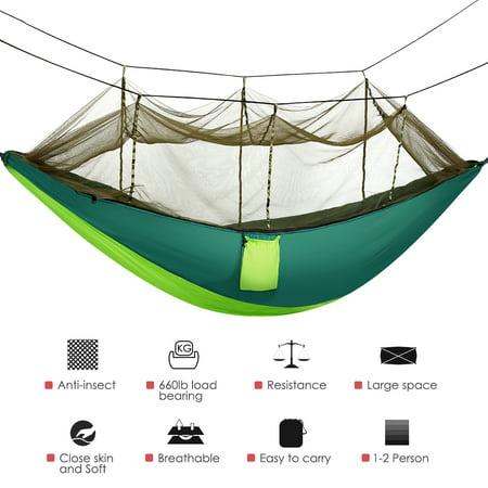 HERCHR Camping Hammock, Double Camping Hammock Indoor Outdoor Hammock Tree Hammock, Portable Double Camping Hammock with Removable Mosquito Bug Net, Hammock Camping Accessories ()